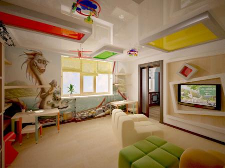 Яркий и незабываемый интерьер в детской комнате с центрально лампой