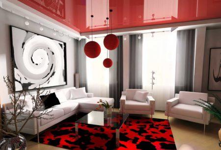 Роскошный интерьер с неброским красным потолком