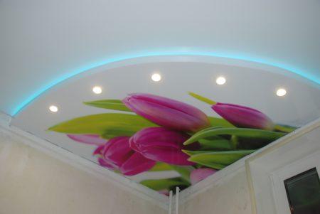 Интерьер, представленный натяжными потолками
