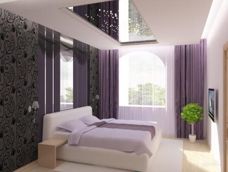 Неординарный дизайн спальной комнаты с помощью зеркального потолка