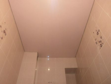 Матовый потолок в туалете с использованием натяжного полотна