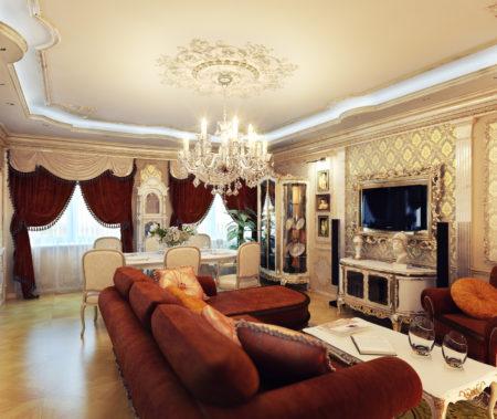 Фото оформления гостиной, где главный элемент декора – натяжной потолок с рисунками