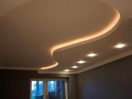 Двухуровневый потолок из гипсокартона с иллюминацией