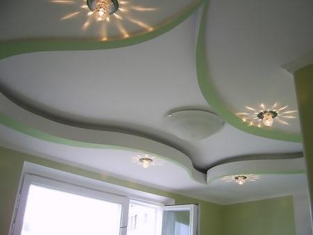 Фото дизайна подвесного потолка из гипсокартона