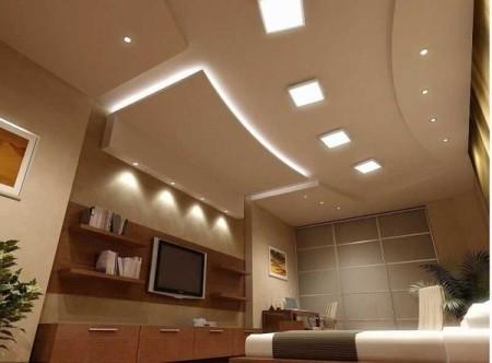 Светодиодная иллюминация потолка из гипсокартона - интересный дизайнерский прием