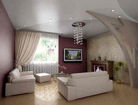 В интерьере гостиной гипсокартон применяют для реализации различных задач