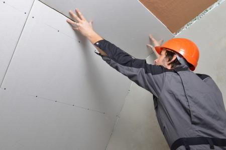 Крепление гипсокартона на потолок без каркаса