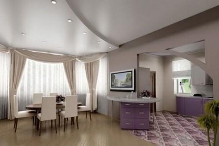 Просторный зал предполагает дизайн ступени на потолок в виде пологой дуги, которая перекликается с покатой полуаркой в проеме