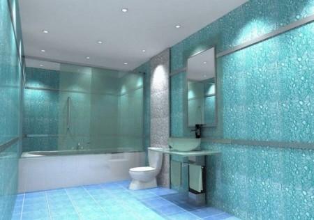 Типичный ванный интерьер в бирюзовых тонах
