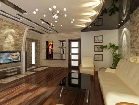 Минимальная меблировка зала 18 кв. м делает его просторным
