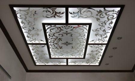 Декорированные зеркала с цветочными мотивами и матовой структурой в качестве украшения потолка
