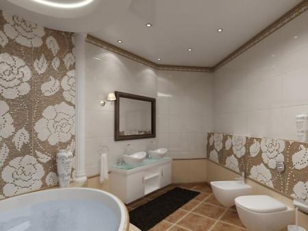 Белый глянцевый потолок в ванной – простор и воплощение чистоты, фото