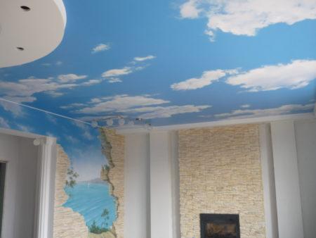 Тканевый потолок с фотопечатью
