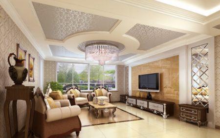 Фото неоклассического оформления с интересным потолком, комбинированным с элементами из гипсокартона
