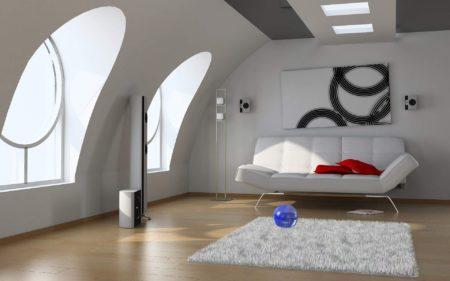 Фото роскошного оформления комнаты для отдыха, где оттенки белого на потолке эффектно дополнены темно-серыми вариациями