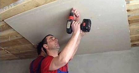 Работа по созданию потолка из гипсокартона, созданный без каркаса