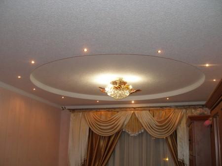 Фото интерьера зала с точечными светильниками