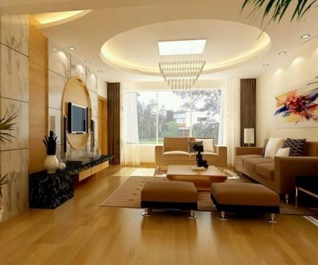 Подвесная конструкция заполняет периметр потолка, а большой круглый вырез в центре позволяет подвесить центральную люстру к основанию перекрытия