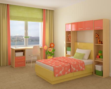 Фото яркой спальной комнаты с основным элементом в виде кровати
