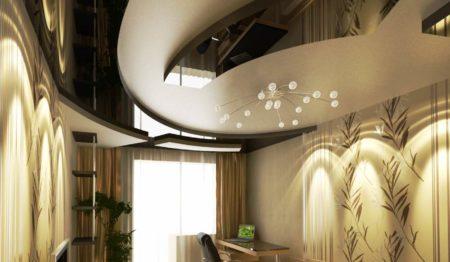 Гипсокартон и натяжной потолок – гармоничное сочетание
