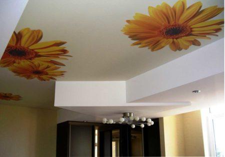 Фото интересного дизайна потолков цветами