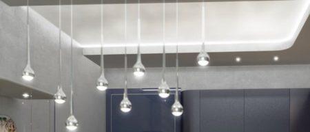 Уникальное оформление потолочного покрытия с помощью оригинальных светильников