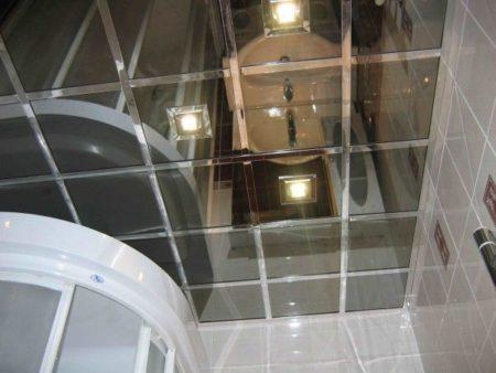 Фото интерьера помещения с применением подвесного каркаса под стеклянные модули