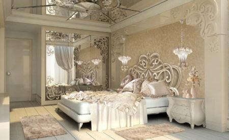 Эстетическое оформление спальной комнаты, в основе которого зеркальная поверхность потолка