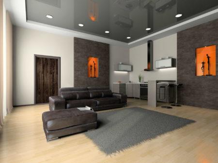 Фото гостиной, выполненной в современном стиле, который представлен темно-серым глянцевым потолком с белыми и серыми поверхностями стен