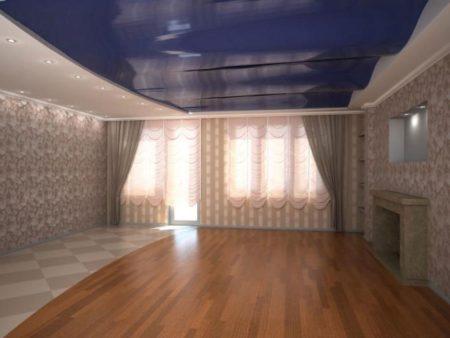 – Фото завершенного оформления, где один из элементов декора – натяжной потолок с волнами