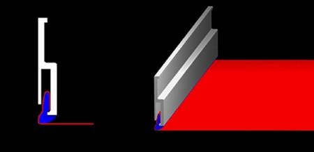 Бесщелевой способ крепления использует багет особой формы