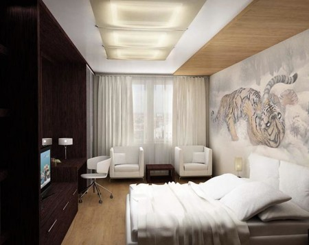 Фото неординарной спальни, площадь которой составляет 12 кв м