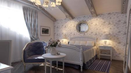 Фото яркого дизайна комнаты с натяжным потолком и необычными стенами