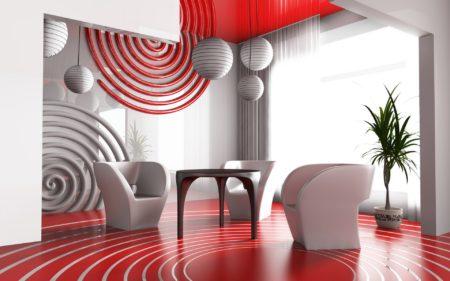 Фото гостиной в современном стиле с потолком красного оттенка