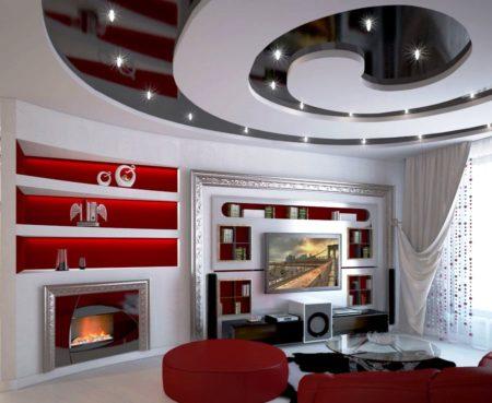 Контраст при отделке потолочного покрытия хай-тек – это одно из стильных и креативных решений