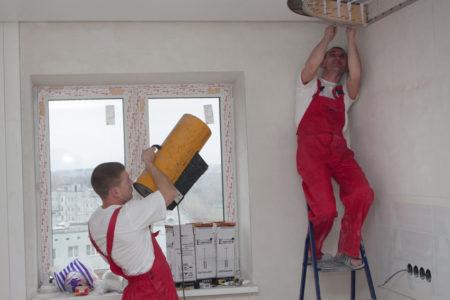 Установка пленочного натяжного потолка