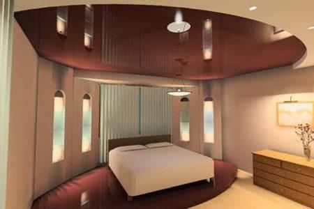 Терракотовый натяжной потолок идеально сочетается со стенами в пастельных тонах