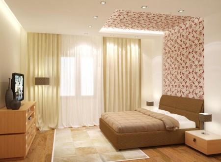 Эффектные конструкции в спальной комнате