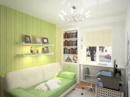 Оформление потолка и стен в спальной комнате