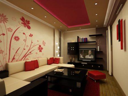 Фото гостиной с потолком из комбинации белого и малинового оттенков