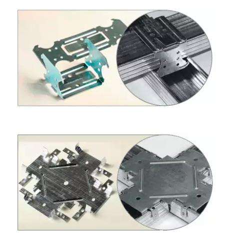 Внешний вид соединителей для CD профилей для двухуровневого и одноуровневого типов потолков