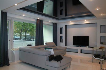 Фото гостиной комнаты в аккуратном дизайне с черными оттенками