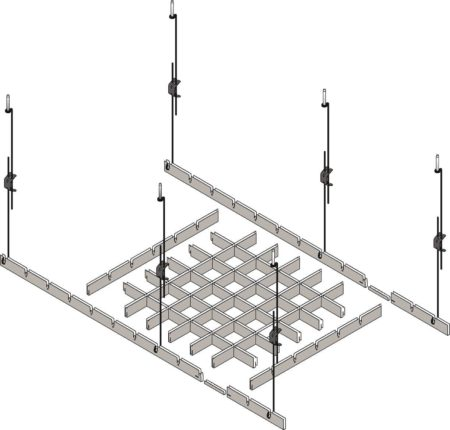 Монтажная конфигурация потолочного реечного покрытия