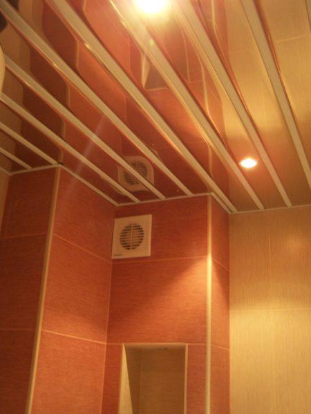 Один из вариантов оформления потолочной поверхности в ванной комнате с помощью алюминиевых реек, обеспечивающих высокие эксплуатационные особенности