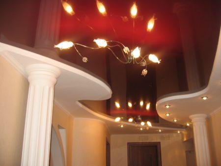 Фото темно-бордового потолочного покрытия в интерьере прихожей