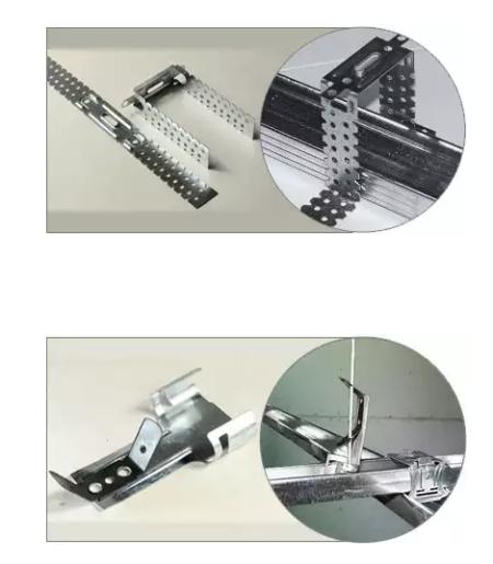 Внешний вид прямого и анкерного подвесов для крепления профилей под листы гипсокартона