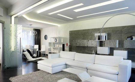 Простота светильников и оригинальное их расположение позволяет создать хорошее освещение в помещении