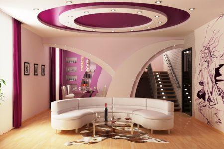 Отличный вариант выделения зоны отдыха особым дизайном потолка