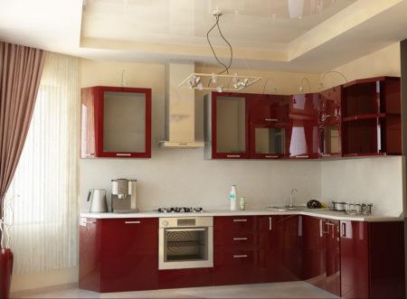 Эффектный дизайн кухонного пространства, выполненный с помощью белого двухуровневого потолка
