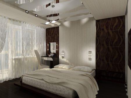 Уютное оформление спальной комнаты с созданием интересной поверхности на потолке